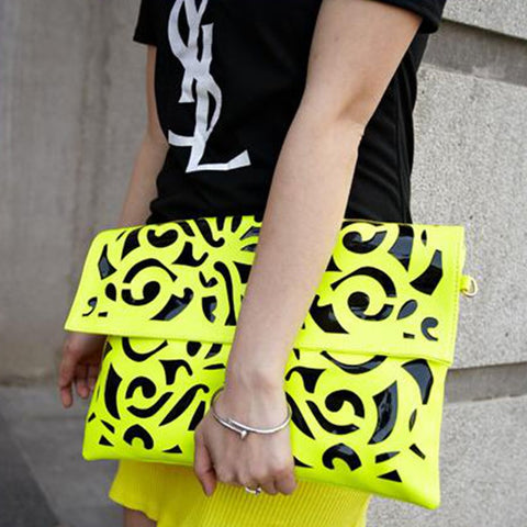 Fluorescent Cut Out Hand Bag