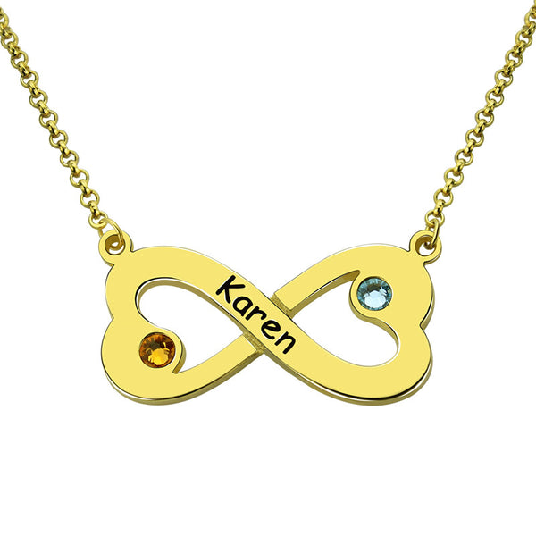 New-Femmi Infinity Heart Birthstone Necklace