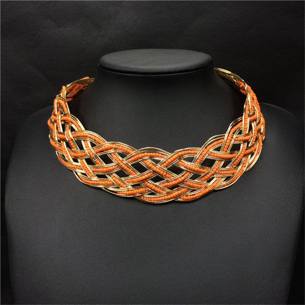 Beaded Wicker Statement Necklace