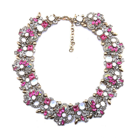Goddess CZ Flower Statement Necklace