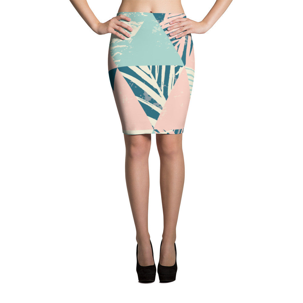 Abstract Pencil Skirt