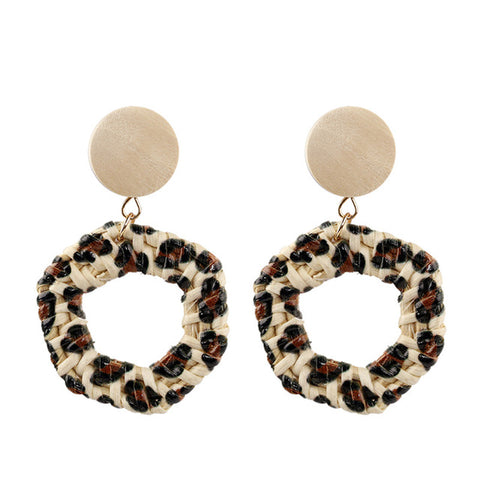 Braided Leopard Earrings
