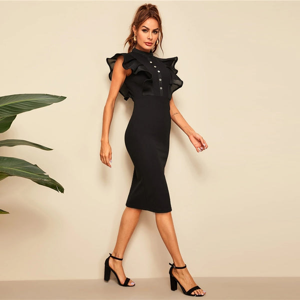 Ruffle Trim  Bodycon Dresses