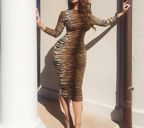 Tiger Print Bodycon Dress