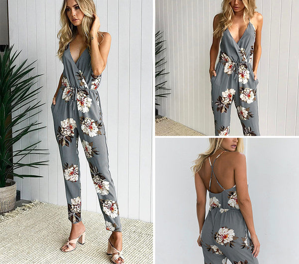 Flower Print Jumpsuit