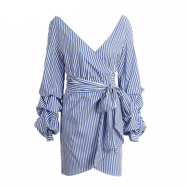 Pin Stripe Wrap Dress