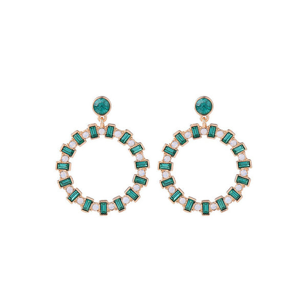 Emerald Pearl Circle Earrings