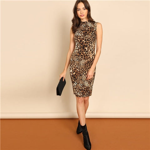 Leopard High Neck Racer Dress