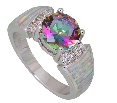 Rainbow  Topaz Opal Ring
