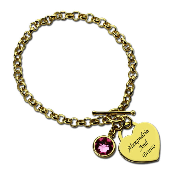 New- Femmi Whole Heart  Birthstone Charm Bracelet
