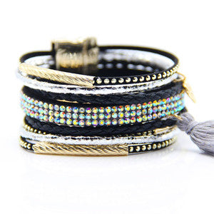 CZ Leather Layer Bracelets