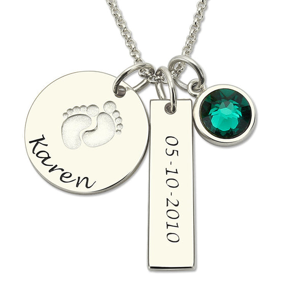 Foot Print Birth Stone Necklace
