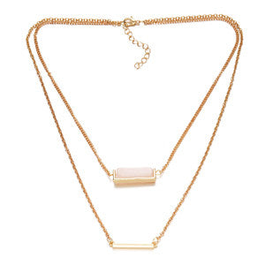 Bar Quartz Layer Necklace
