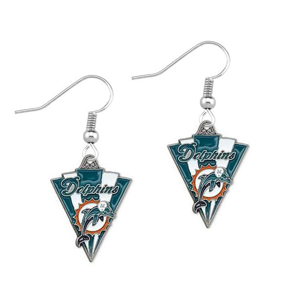 Miami Dolphins Triangle Drop Earrings