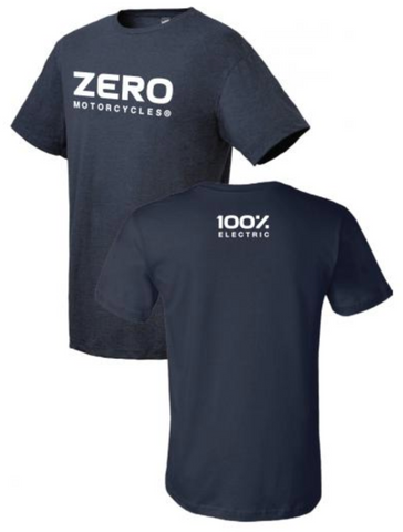 Zero Wordmark Logo Tee - Navy Heater