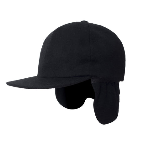 Filipacchi - Cashmere Baseball Cap with Ear Flaps - Black