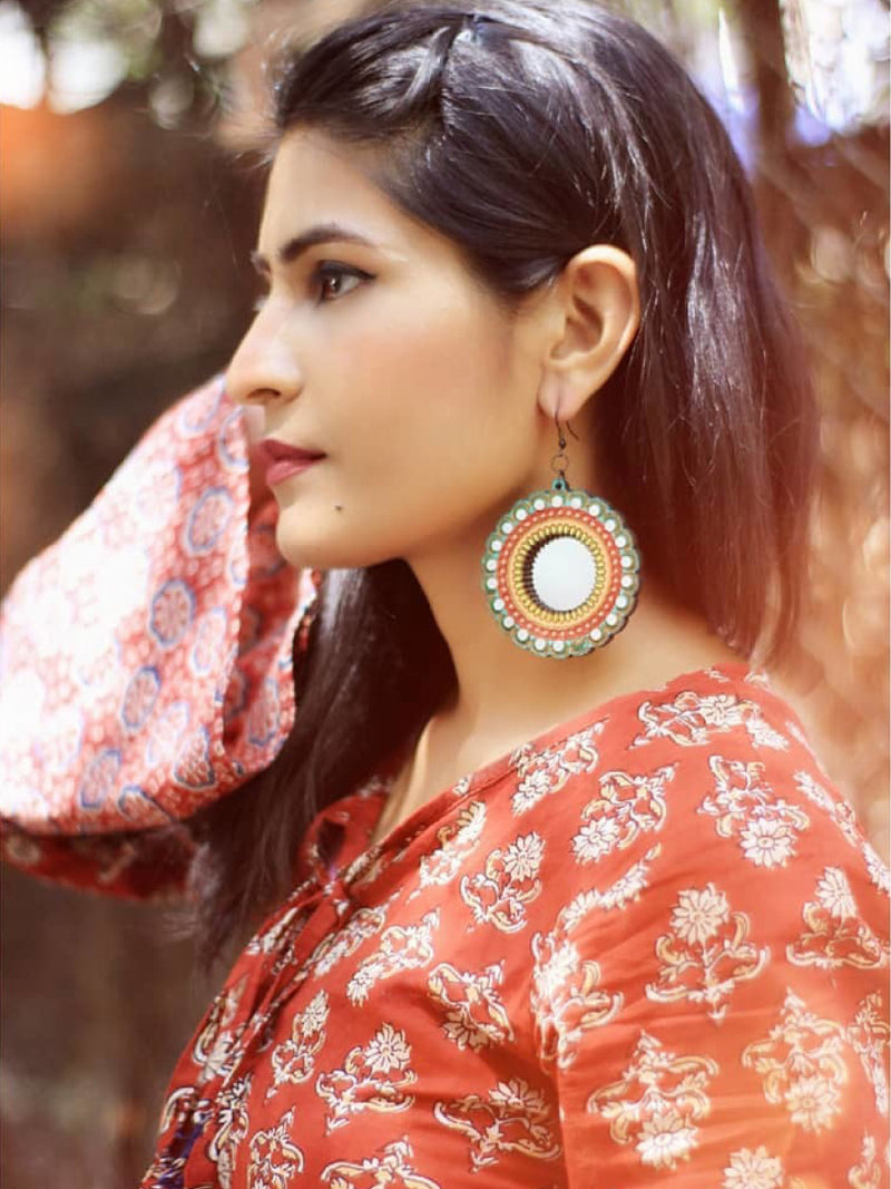 Aayat Hand painted Wooden Mirror Earrings, a handpainted wooden earring with mirrors from our designer collection of quirky boho earrings for women online.