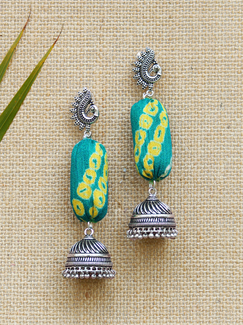 Bandhej Jhumka, a gorgeous Indian bohemian ethnic earring jhumka with peacock detail from our designer collection of earrings and jhumkas for women.