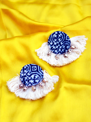 Indigo Tassel Earrings, a beautiful handmade hand embroidered earring with ghungroo and tassel from our designer collection of earrings for women online.