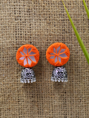 Mahira hand embroidered Jhumka, a beautifully hand-embroidered silver jhumka from our designer collection of boho, Kundan and tassel earrings and jhumkas for women.