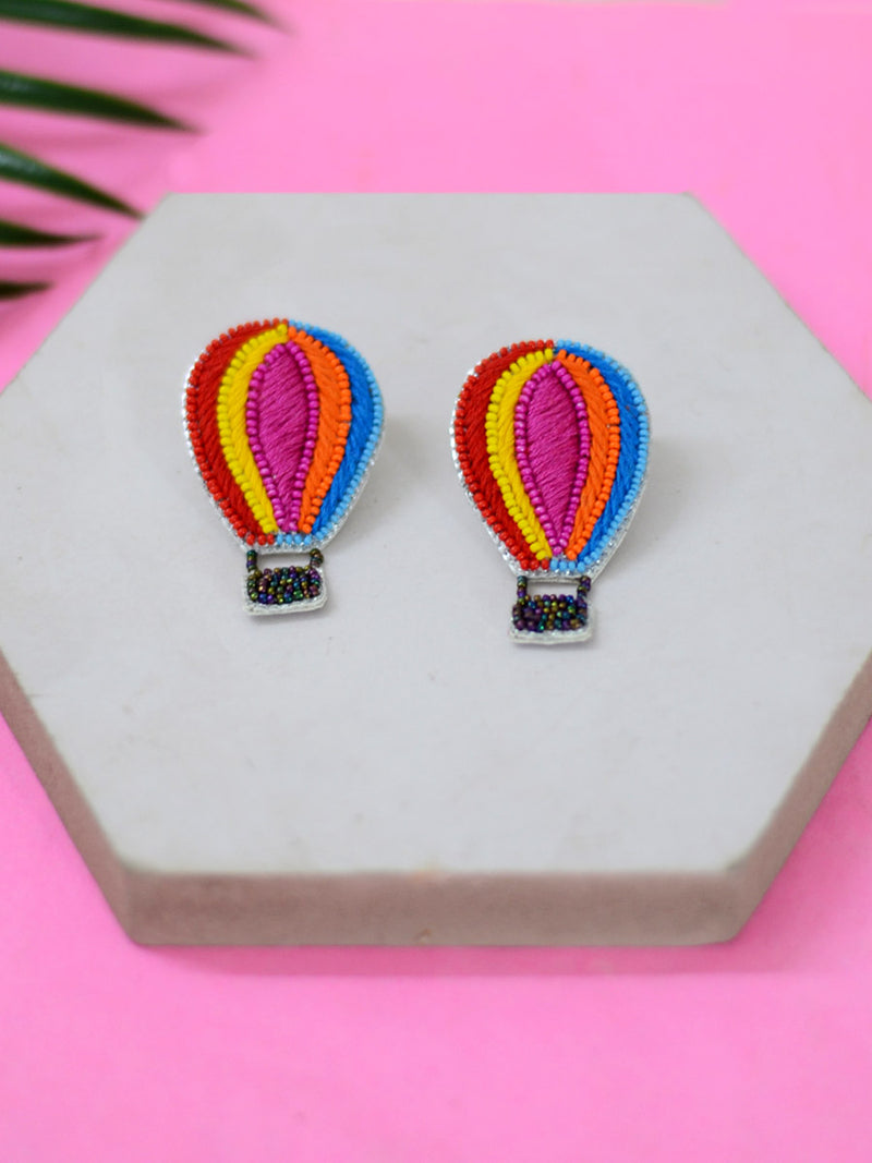 Hot Air Balloon Embroidered Earrings, a beautifully hand-embroidered earring from our designer collection of quirky, boho, Kundan and tassel earrings for women online.