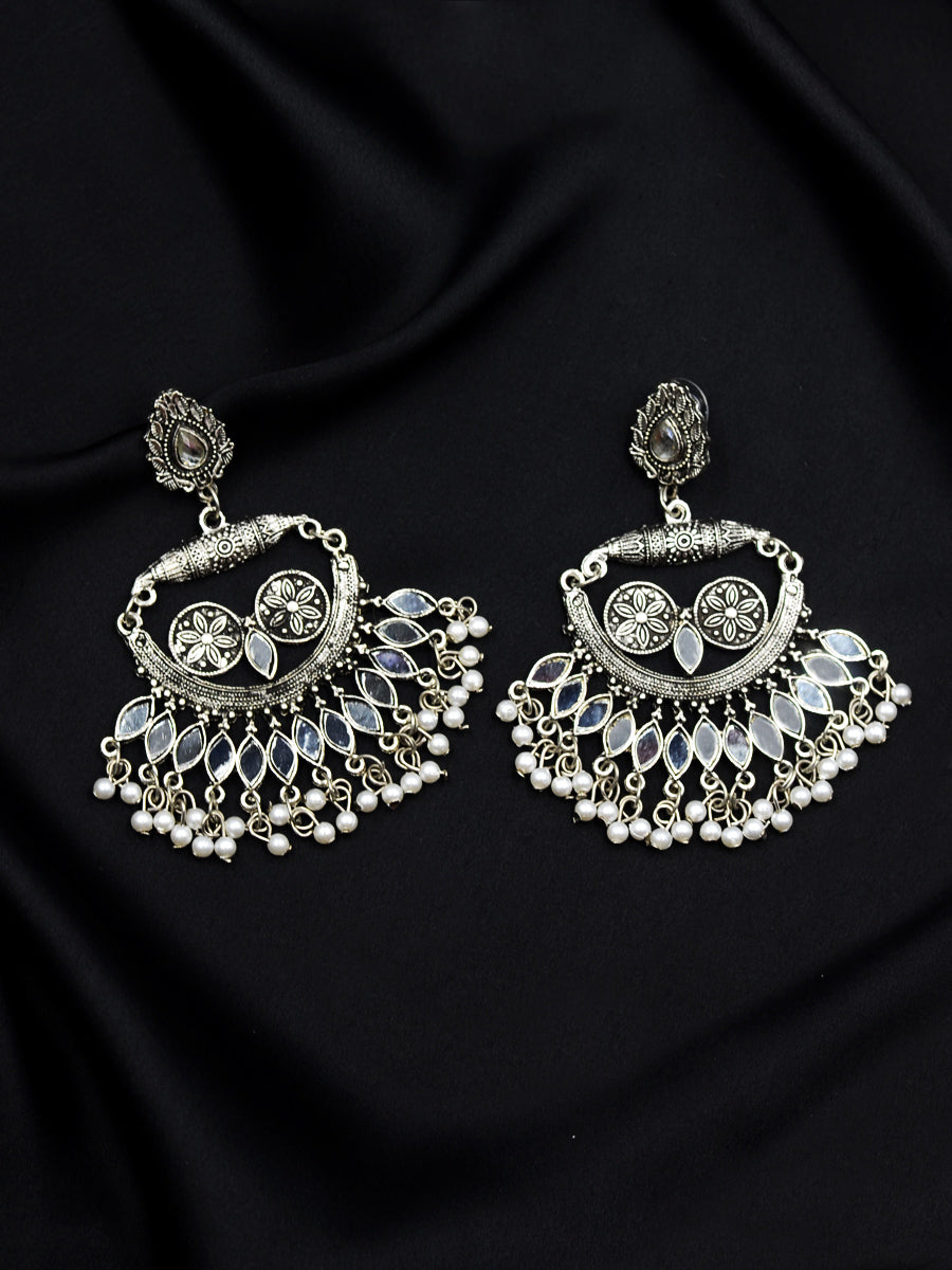 Kalki Silver Mirror Ghungroo Earrings