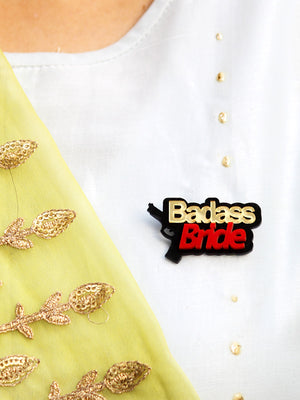 Badass Bride Brooch, a handmade statement brooch from our wide range of quirky wedding collection for women.