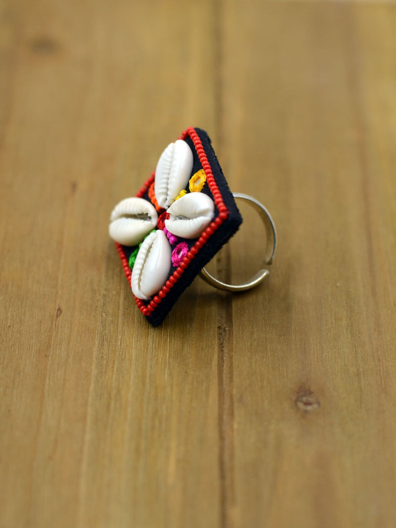 Dandiya Raas Ring for girls. Shop this beautifully multicoloured and hand embroidered ring from our latest designer collection of rings for women online.