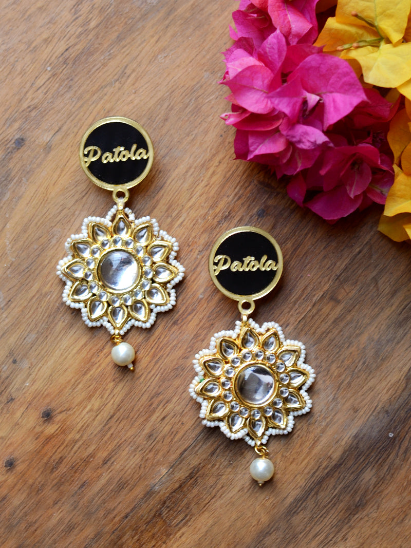 Patola Kundan Pearl Earrings, a contemporary handcrafted earring from our wedding collection of Kundan, gota patti, pearl earrings for women online.