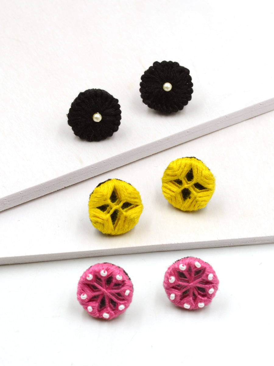 Arya Embroidered Stud Earrings Set 10