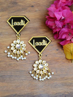 Laadli Kundan Earrings, a contemporary handcrafted earring from our wedding collection of Kundan, gota patti, pearl earrings for women online.
