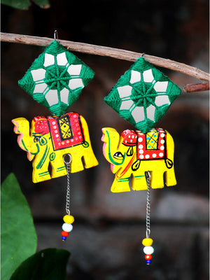 Tribal Elephant Hand-painted Hand-embroidered Earrings, an indo-western mirror earring from our handmade collection of earrings for women online.