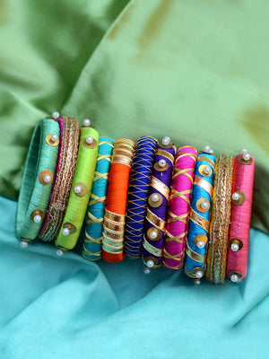 Eternal Beauty Gota Bangles (Set of 12), a set of 12 exclusive multicoloured, designer, handcrafted gota work bangles from our latest collection of hand embroidered bangles for women online.