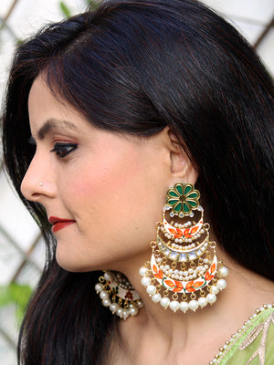 Soha Kundan Earrings, a contemporary handcrafted earring from our wedding collection of Kundan, gota patti, pearl earrings for women online.