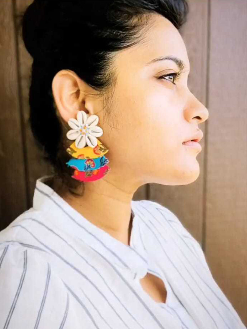 Rainbow Shell Earrings, a chic hand embroidered shell earrings with mirror detailing from our designer collection of earrings for women.