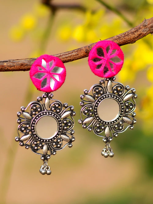 Noor Hand-embroidered Mirror Earrings