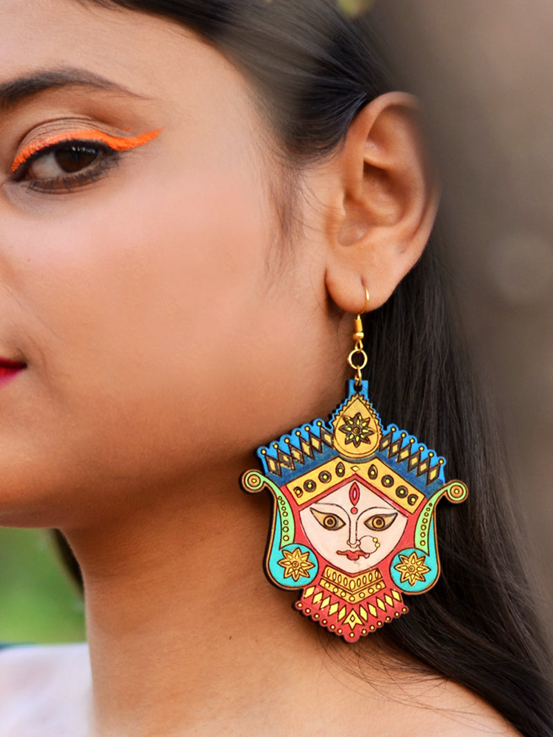 Divine Hand-painted Earrings an intricately hand painted Indo-western statement earring from our designer collection of hand embroidered, boho earrings for women.