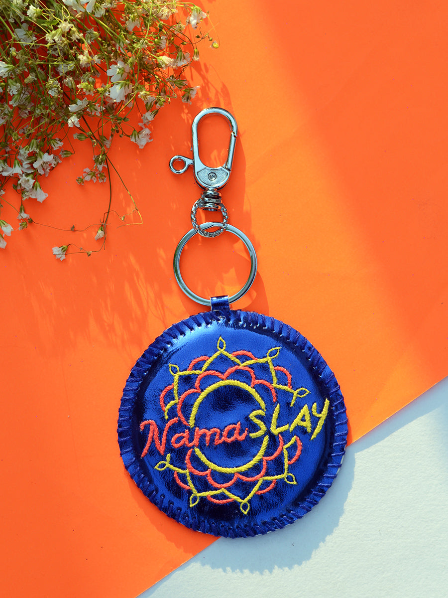 NamaSLAY Keychain Bagcharm, a unique handcrafted keychain bag charm from our designer collection of hand embroidered statement keychain and bag charms online.