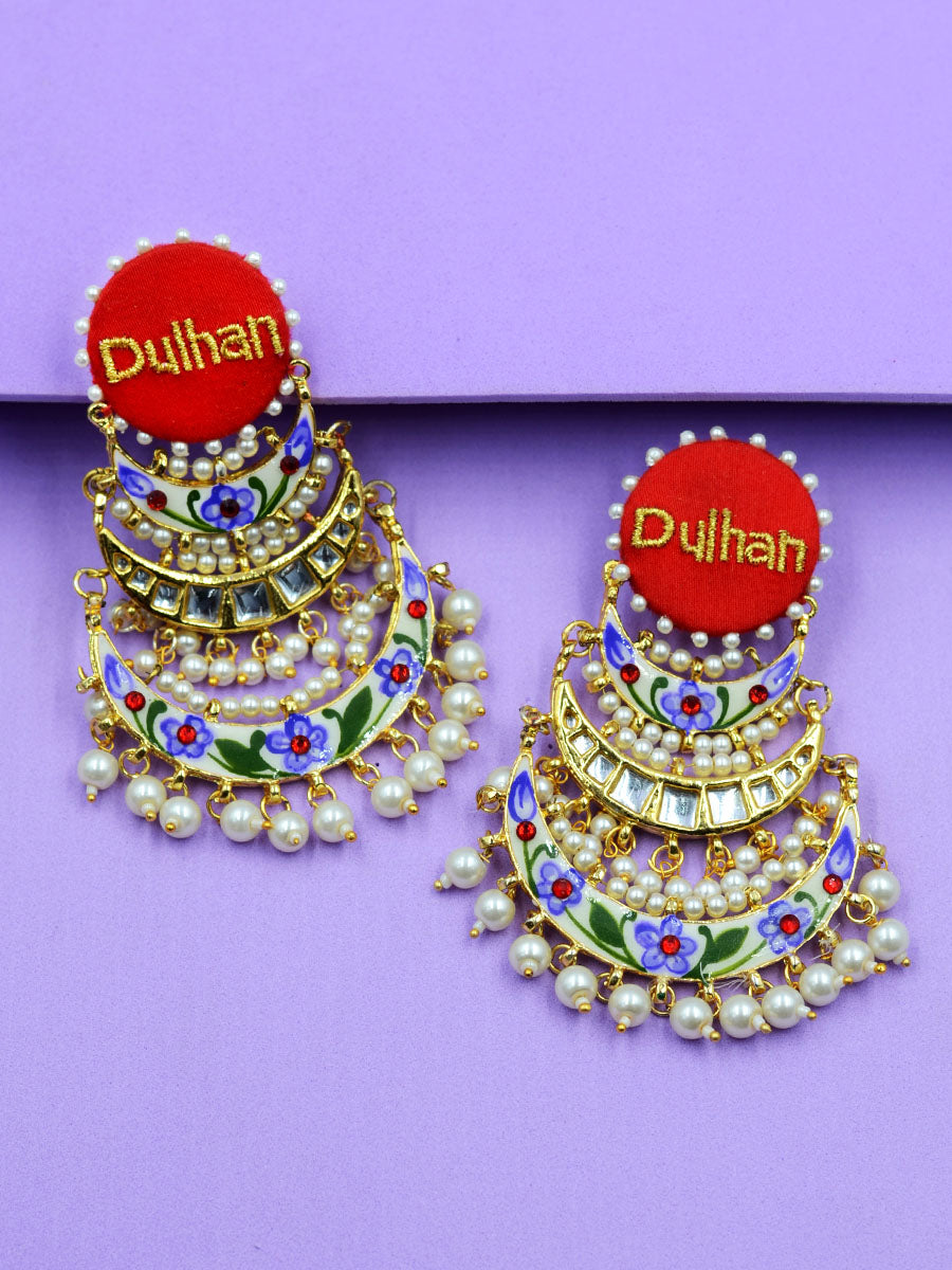 Dulhan Embroidered Kundan Earrings
