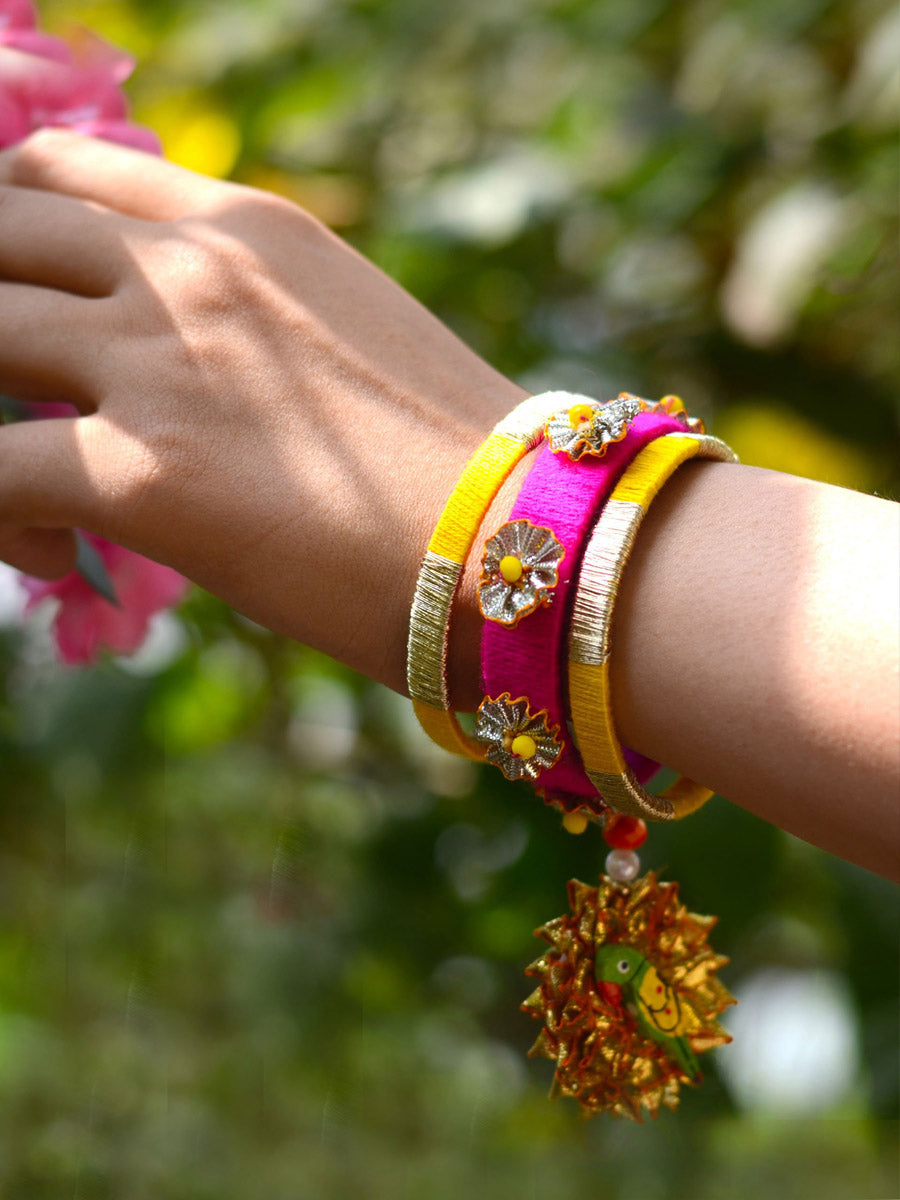 Parrot Charm Gota Bangles, beautifully handmade gota bangles with bead and parrot detailing from our latest collection of wedding themed bangles for women online.