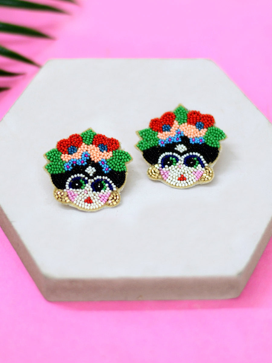 Frida Embroidered Bead Earrings, an embroidered earring with beads from our quirky designer collection of earrings for women online.