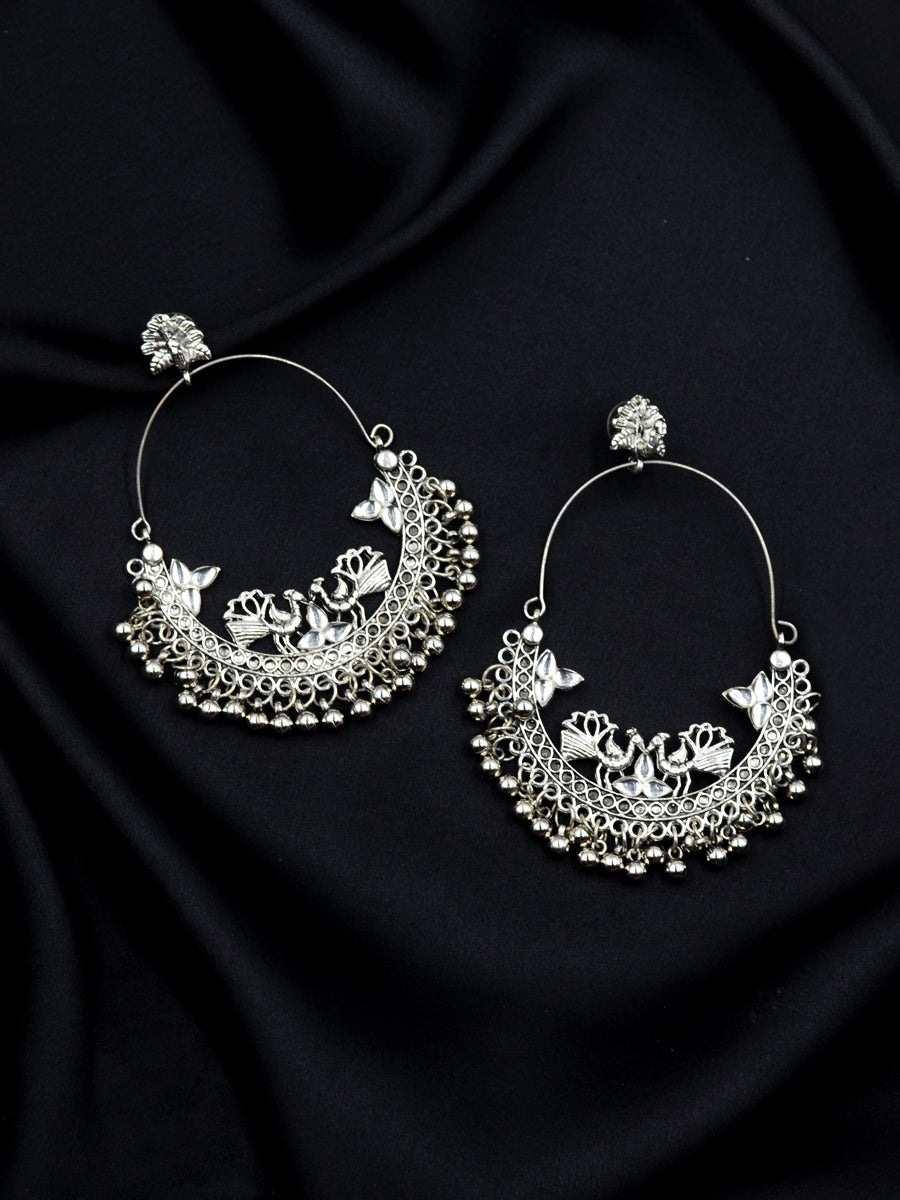 Lakhi Silver Ghungroo Chand Baali Earrings