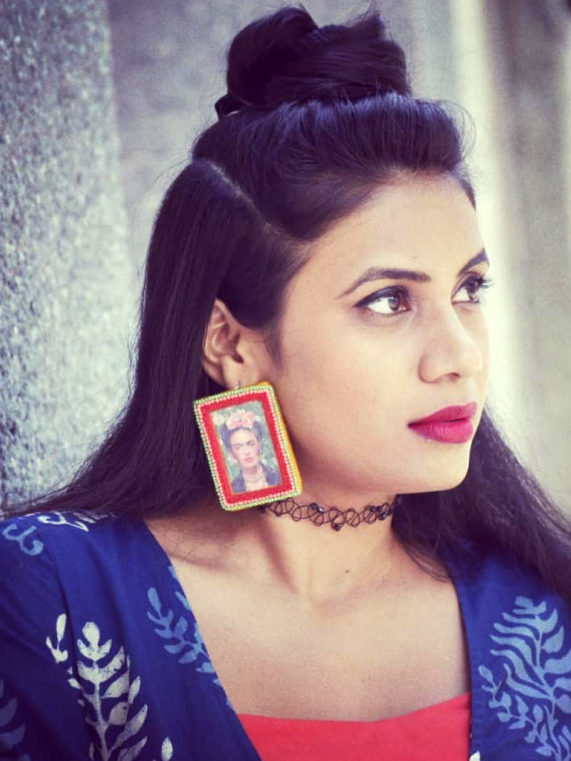 Fearless Frida Earrings, a beautifully hand-embroidered earring from our designer collection of quirky, boho, Kundan and tassel earrings for women online.