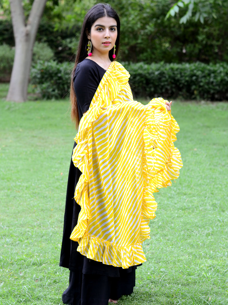 Ruffle Dupatta (Yellow), a hand embroidered, statement dupatta from our designer collection of dupattas and clothing for women online.