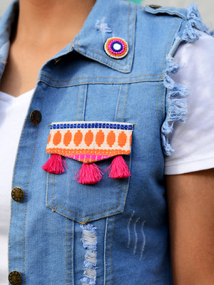 Babes against Bakwas Sasswati Denim Jacket, a hand embroidered blue denim jacket from our latest designer collection of boho denim jackets for women online.