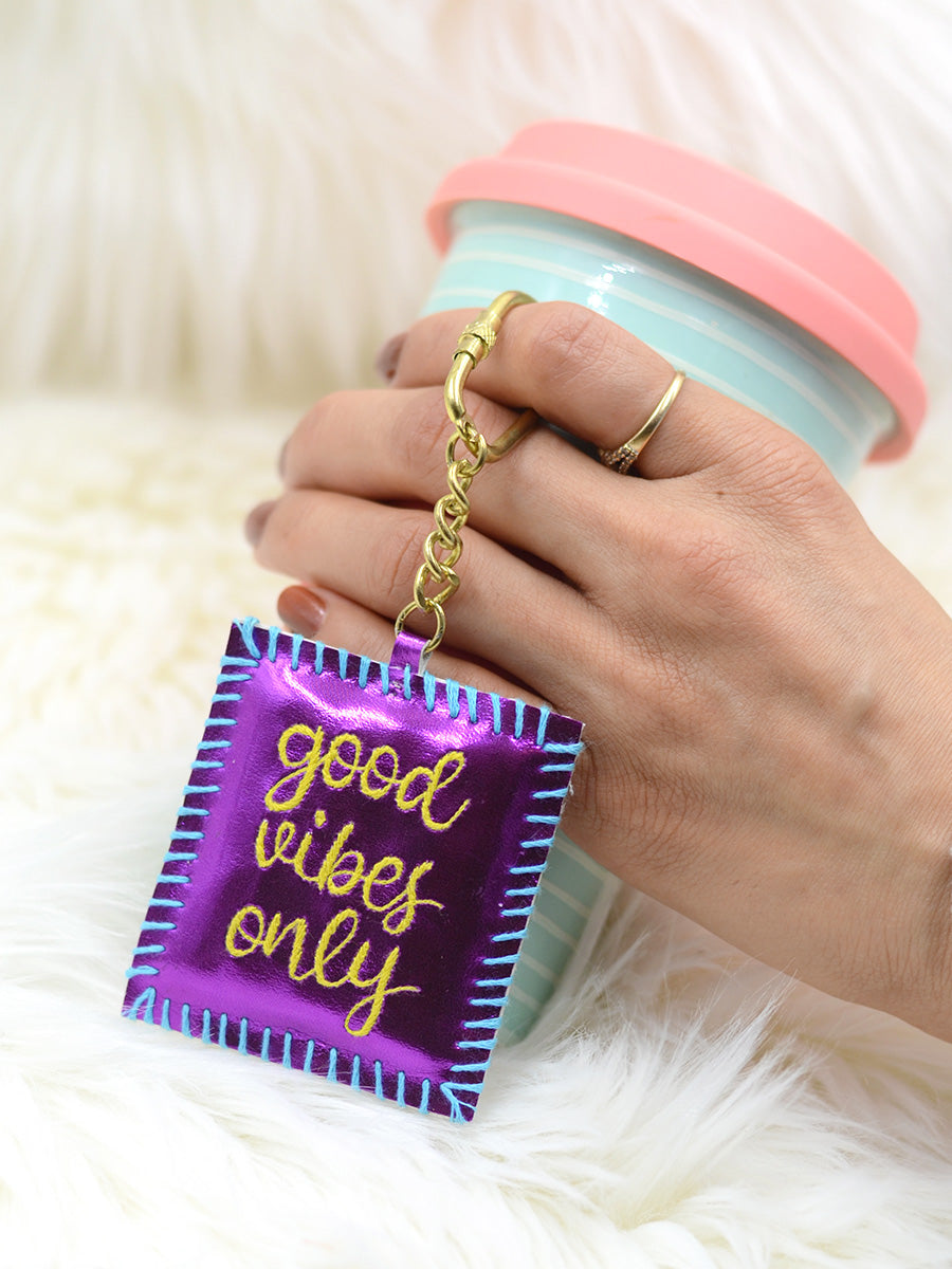 Good Vibes Only Keychain Bagcharm, a unique handcrafted keychain bag charm from our designer collection of hand embroidered statement keychain and bag charms online.