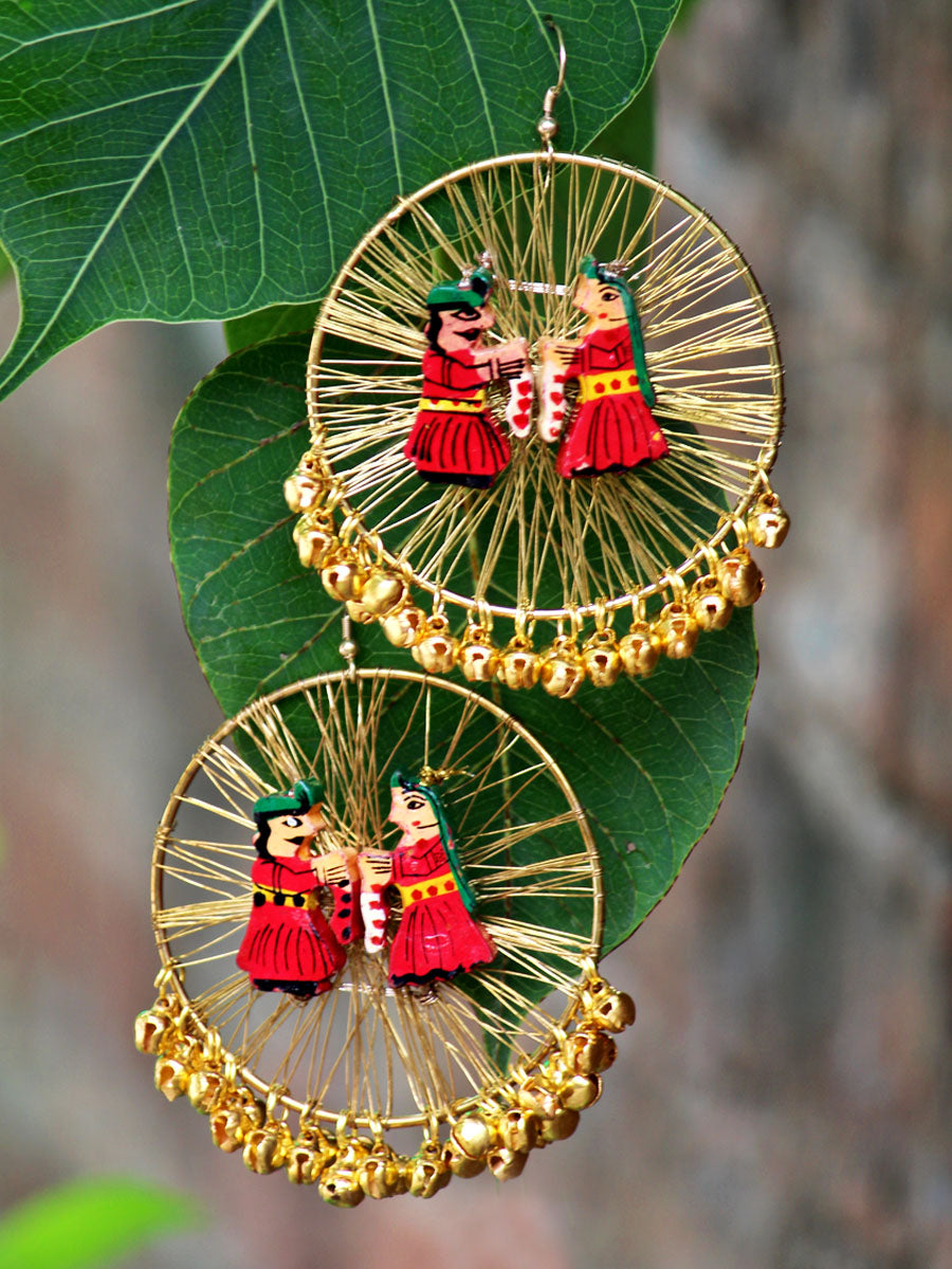 Raja Rani Hoop Earrings, a gorgeous statement earrings with ghungroo and wire detailing from our trending designer collection of hoop earrings for women online.