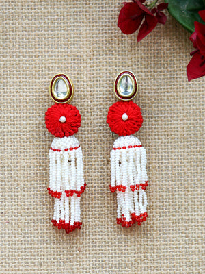 Nohreen Kundan Earrings, a contemporary handcrafted earring from our wedding collection of Kundan, gota patti, pearl earrings for women online.