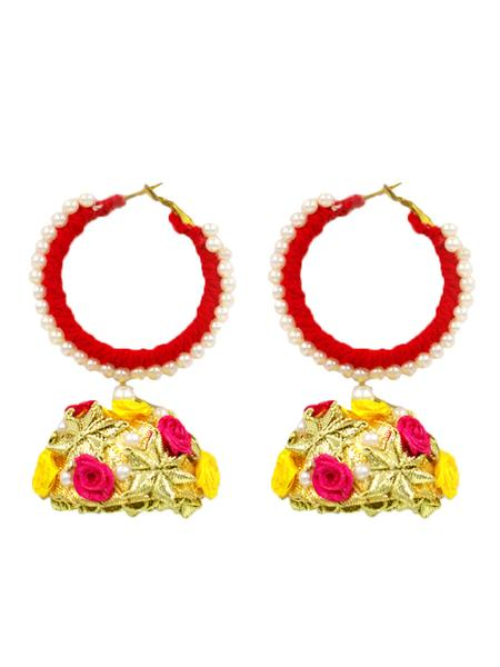 Floral Hoop Earrings, a beautiful gota patti hoop earrings with floral detailing from our designer collection of earrings for women online.