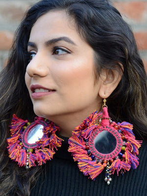 You're my Sun Earrings, a beautiful handmade hand embroidered earring with mirror and tassel from our designer collection of earrings for women.